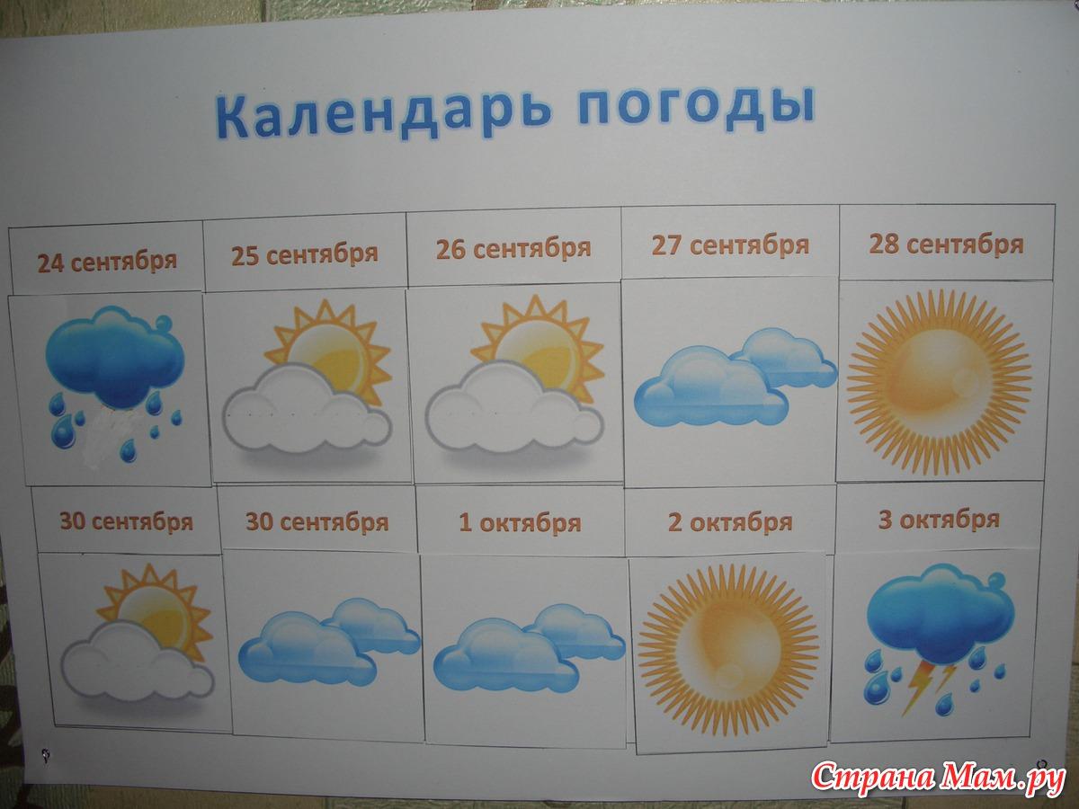 картинки на календарь погоды в младшей группе через