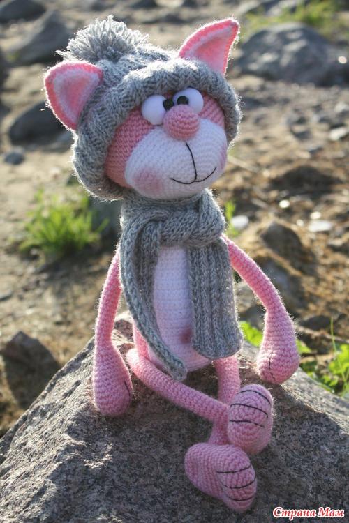 розовый кот вязание страна мам