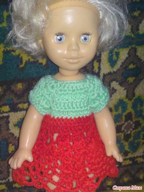 Платье для куклы крючком, вяжем вместе!