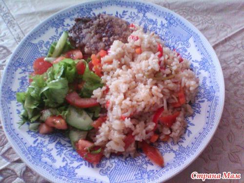 Рис с овощами в духовке