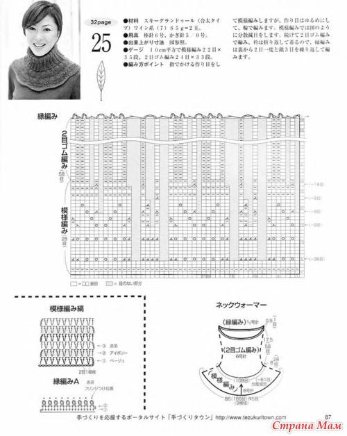 Красивая манишка-снуд из японского журнала.