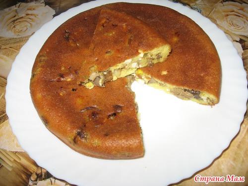 Пирог с грибами в мультиварке..