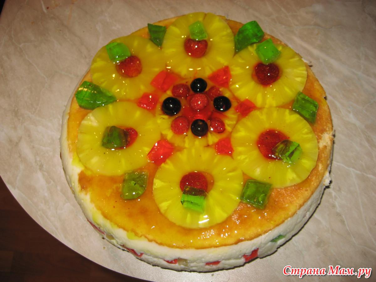 Торт с фруктами сверху фото в желе