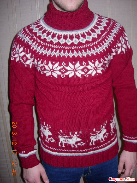 Вязание мужского свитера с оленями 211