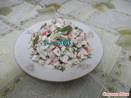 """Салат с крабовыми палочками и сыром """"тофу"""""""