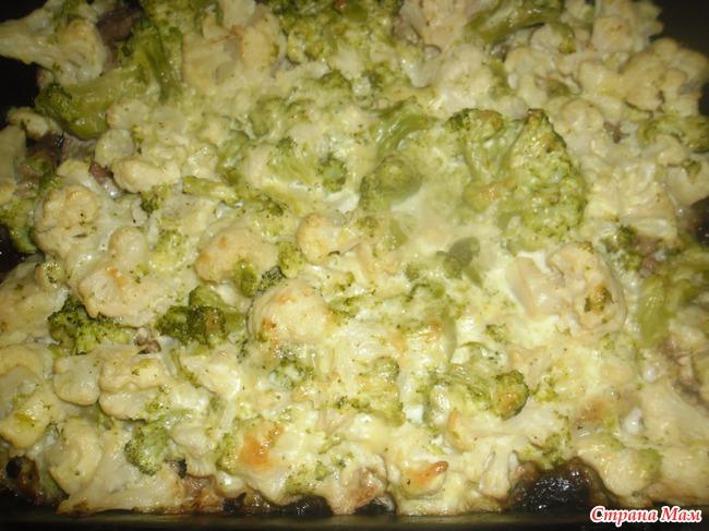 Запеканка из брокколи и цветной капусты.