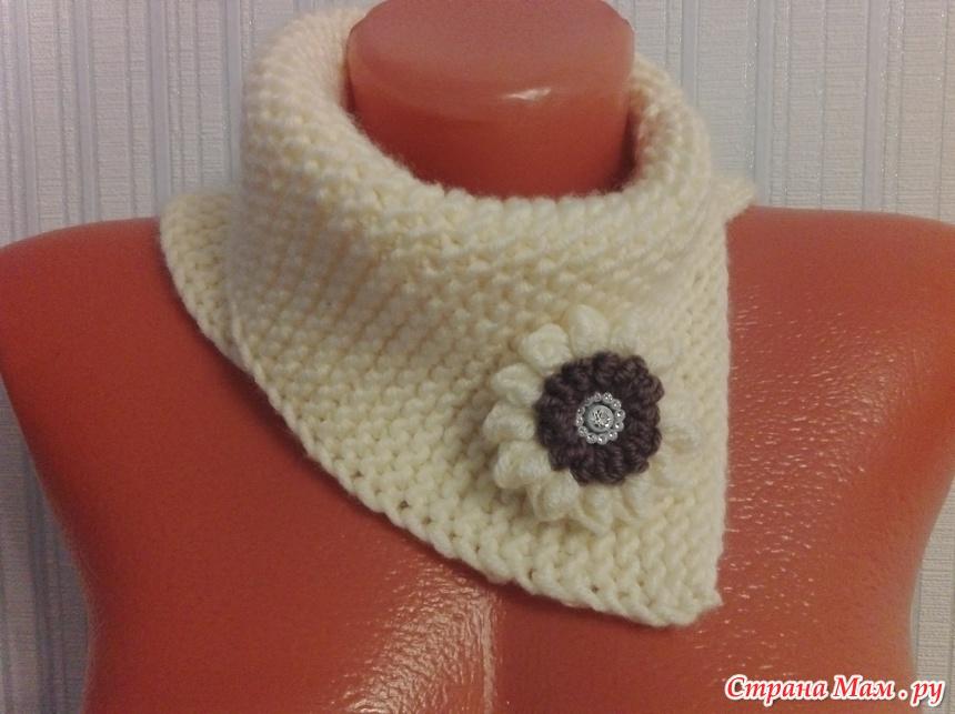 манишка платочной вязкой вязание страна мам