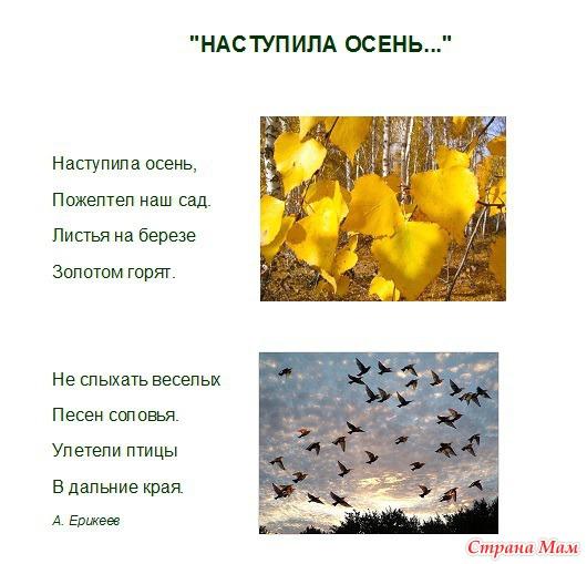Занятие на тему осень: загадки, стихи, песни, описание.