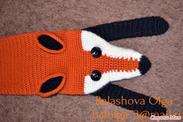Схема вязания шарфа лисы спицами 971