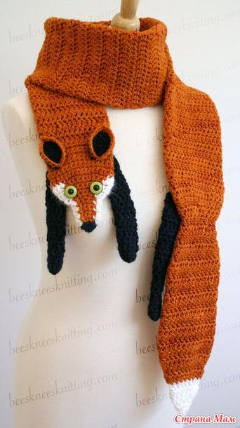 Схема вязания шарфа лисы спицами 824