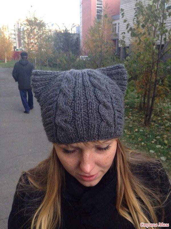 спицами схемы вязания шапки-кошки
