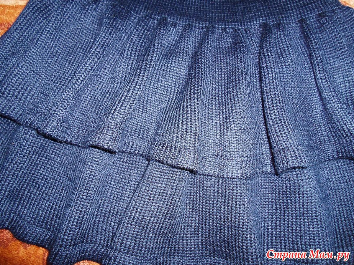 Вязаная спицами юбка для девочки с воланами