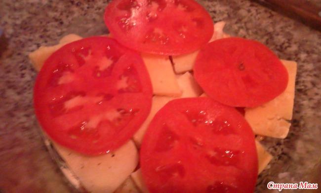Куриное филе с помидорками и сыром