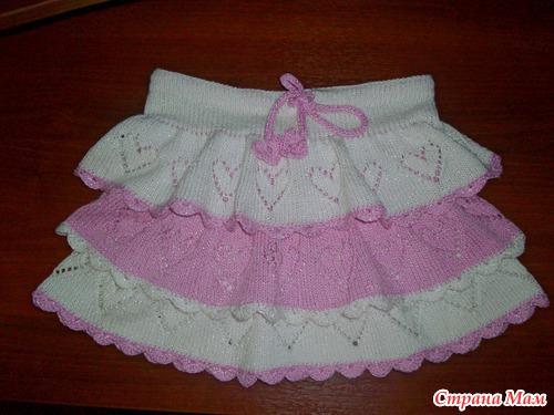 Ажурная юбочка с сердечками для девочки