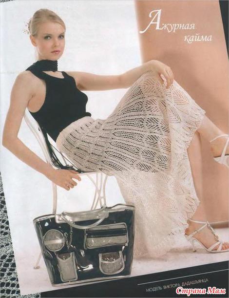 Ажурные юбки, спицами.