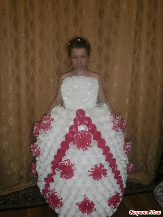 из руками фото своими одноразовых тарелок платье