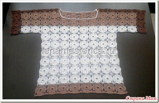кофточка круглыми мотивами безотрывным методом вязания онлайн