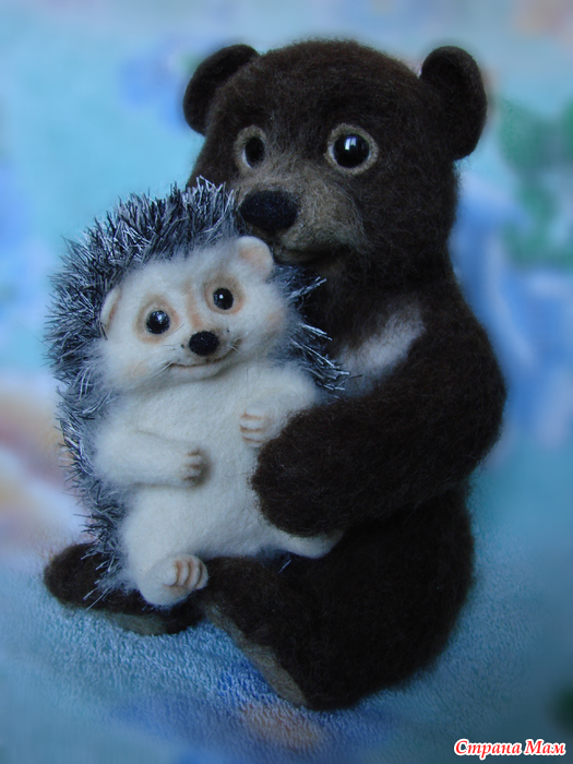 картинка медвежонок обнимает ежика трафарете могут быть