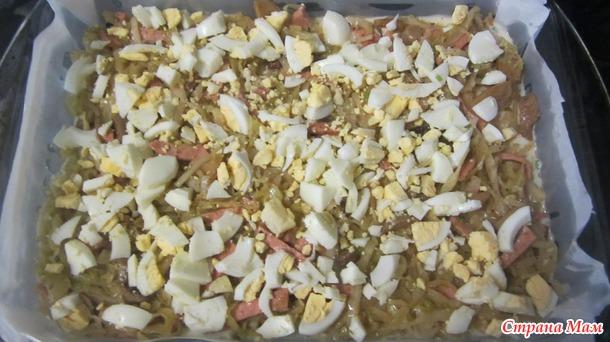 Пирог заливной с капустой