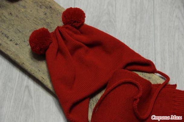 """Шапка+ шарф для девочки """"Яркокрасно"""""""