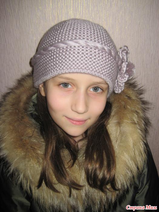 шапка с цветком платочной вязкой вгу вязаные головные уборы