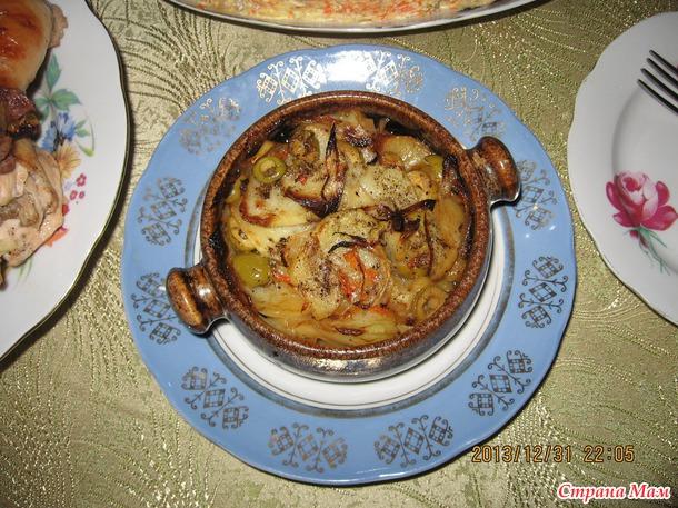 Картошка в горшочках с оливками