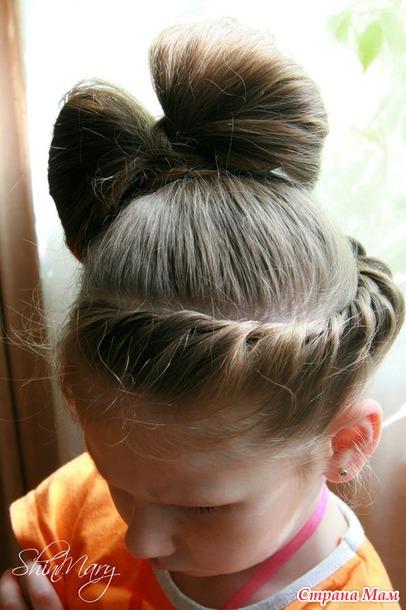 Причёска бант из волос фото для детей
