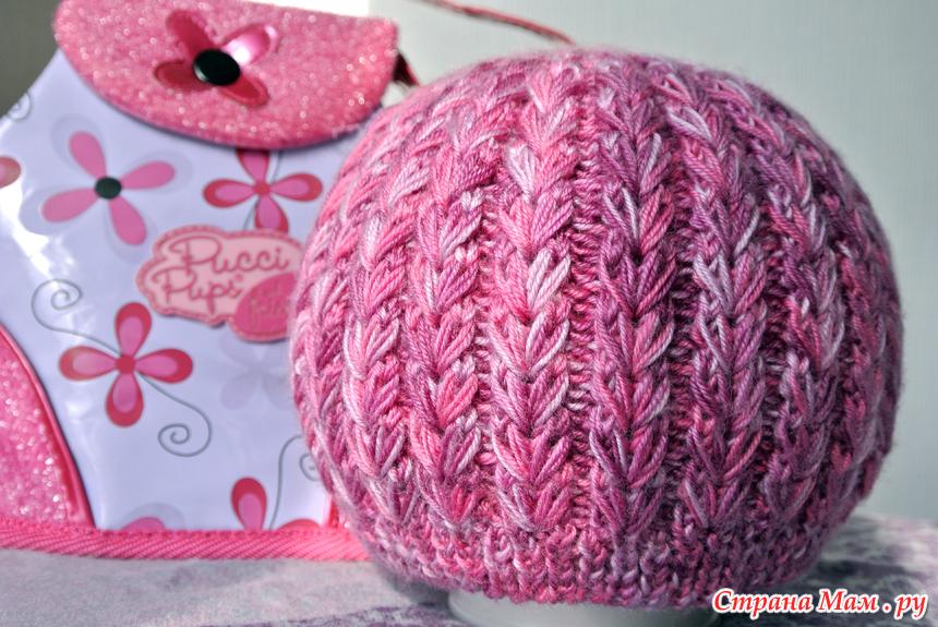 весенняя шапочка узор колоски из вытянутых петель вязание