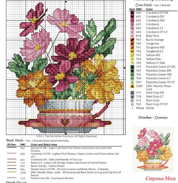 Чашка- цветы- календарь!