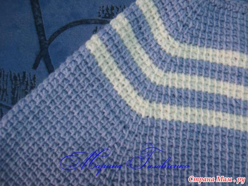 кофточка реглан в технике тунисского вязания вязание страна мам