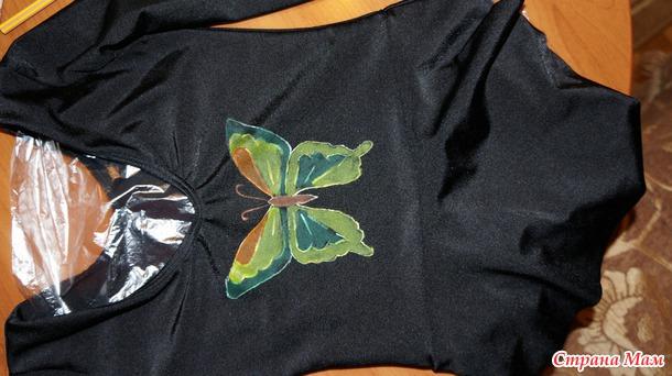 Роспись гимнастического купальника акртиловыми красками и украшение стразами, мини-МК (или от простого купальника - к красивому)