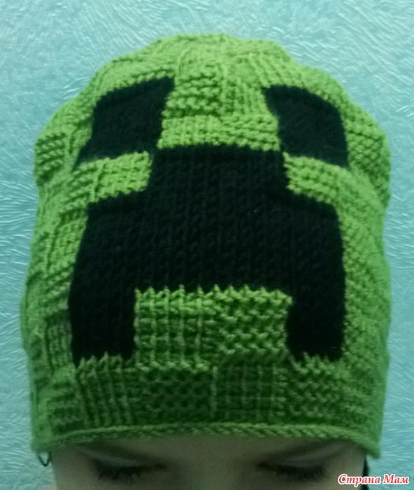 вязаные шапки майнкрафт крючком схемы #5