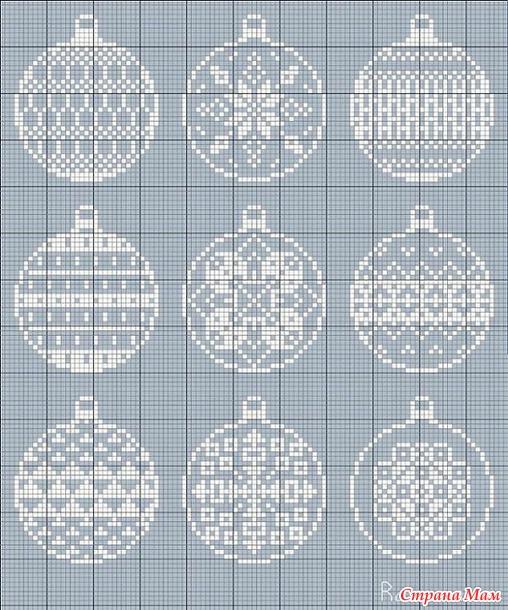 Вышиваем елочные шары... 69 схемочек.