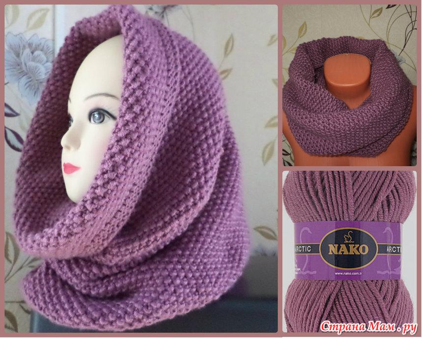 Узор вязания шарфа снуд спицами 408