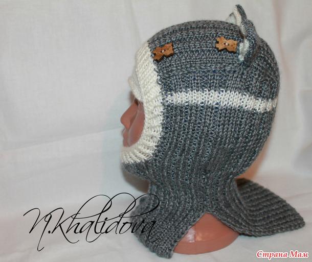 Шапочка шлем спицами+МК подклада флисового для шлема