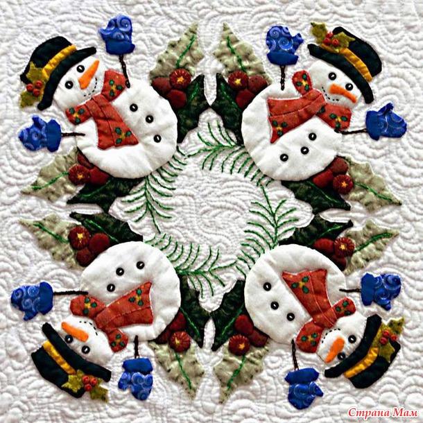 Елки, снеговики, или   вдохновляющая подборка зимних квилтов.