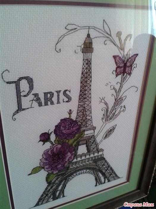 Вышивка на открытку париж