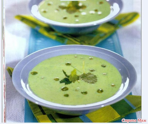 Суп-пюре из зеленого горошка.