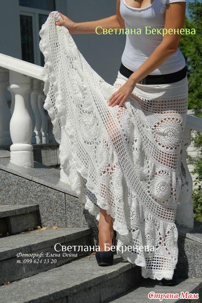 Длинная розовая юбка крючком. Схемы.