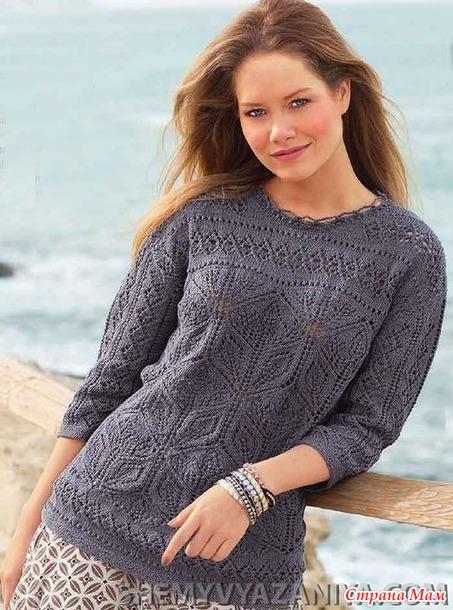 Ажурный пуловер с фантазийным узором