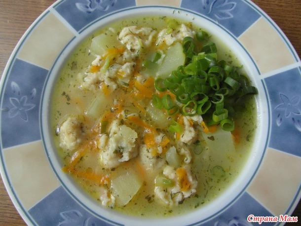 Суп с сырными клецками