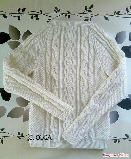 Зимний свитер с аранами