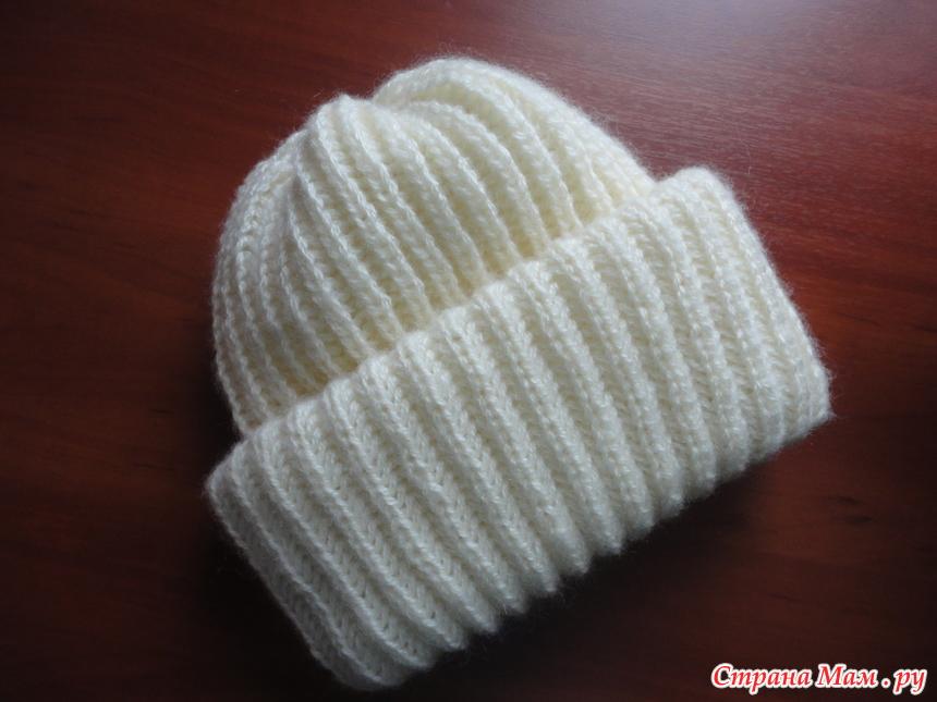 Вязание шапок спицами с отворотом для женщин 176