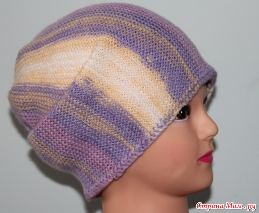 шапка чулок вязанная спицами поперек платочной вязкой страна мам