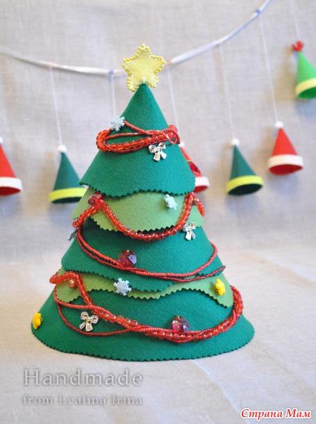 Новогодняя елочка и гирлянда шапочек из фетра + печенюшки ...