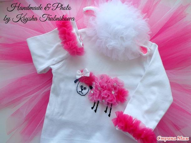 """Символ 2015 года (костюм """"Овечка"""" для дочки) + аппликации и шапочки."""