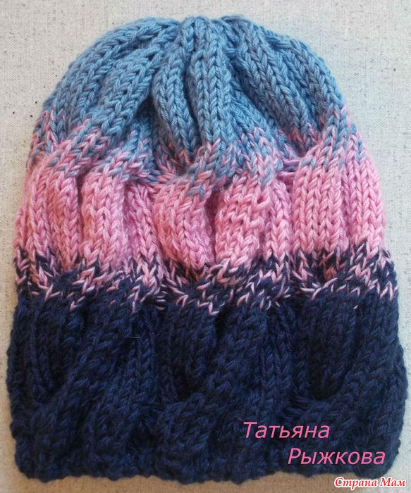 мк по вязанию шапки с косами градиент вгу вязаные головные
