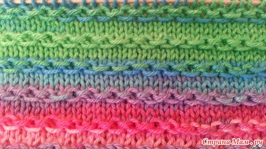 узор цепочка спицами вязание страна мам