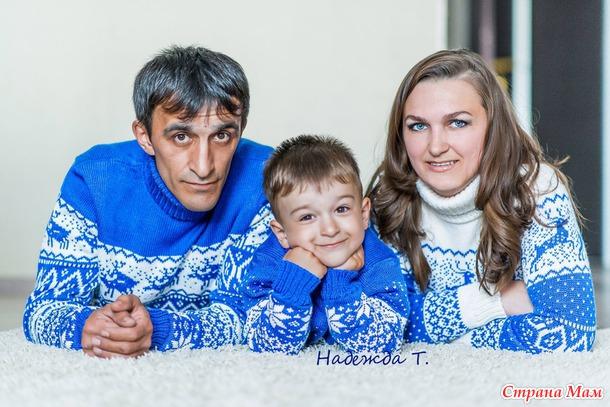 вязаный комплект для всей семьи вязание страна мам