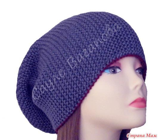 онлайн шапка бини поперечным вязанием укороченными рядами без